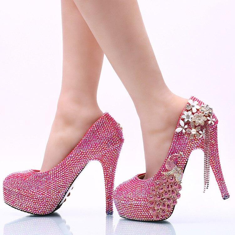 Rose Bankett Schuhe Phoenix Frauen Party Strass 14cm Quaste Handmade High Pink Kristall Und Heels Red Abendkleid Super Hochzeit Pumps ZtnArxZq