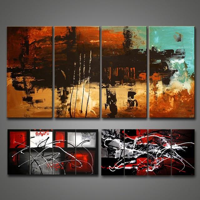 Handgemalte abstrakte kunst gemälde Schwarz Weiß Rot ölgemälde ...
