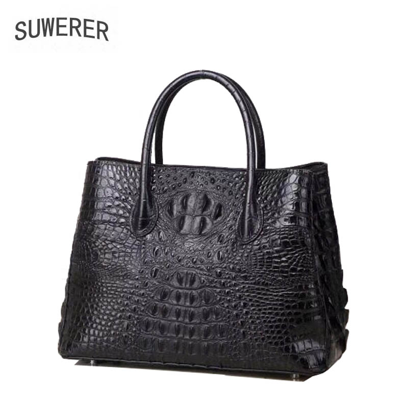 SUWERER New women leather handbag cowhide Crocodile pattern tote shoulder bags women Genuine Leather bags women famous brand SUWERER New women leather handbag cowhide Crocodile pattern tote shoulder bags women Genuine Leather bags women famous brand