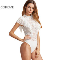 COLROVIE White Elegant Lace Bodysuit Women Ruffle Cap Sleeve Skinny Slim Bodysuits 2017 O Neck Back