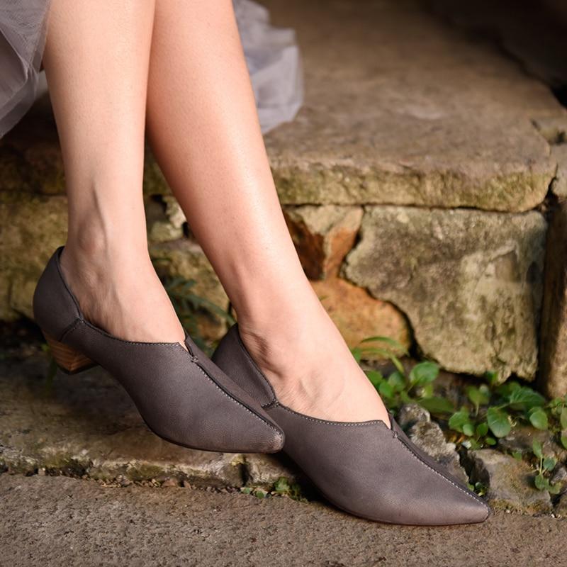 Pointu Talon Femme Original Main Chaussures Faible Femmes Gris Pompes Noir Vintage À grey Automne La Black En Cuir Véritable Printemps x18trwqY8