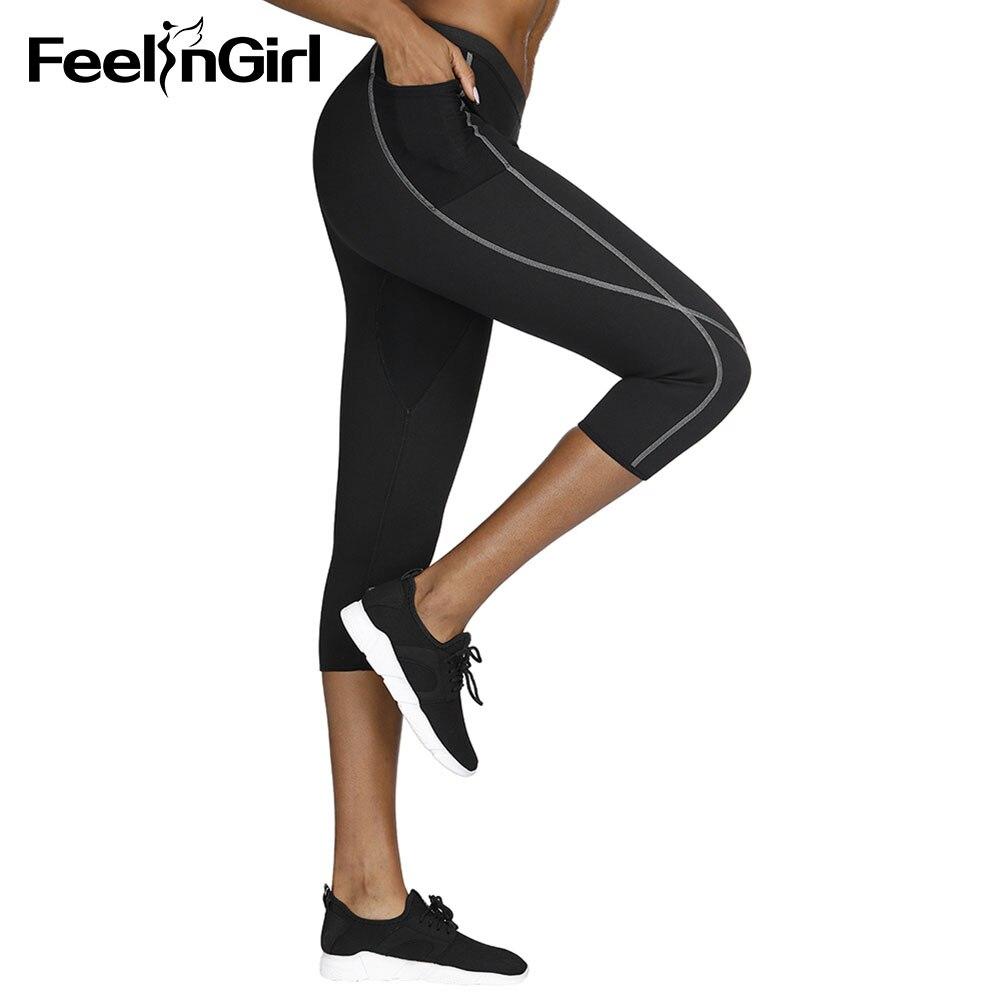 b98fb597e13 FeelinGirl Sauna Sweat Neoprene Shapers Waist Trainer Body Shaper Work Out  Vest Pants Fat Burning Waist Cincher Shapewear -F