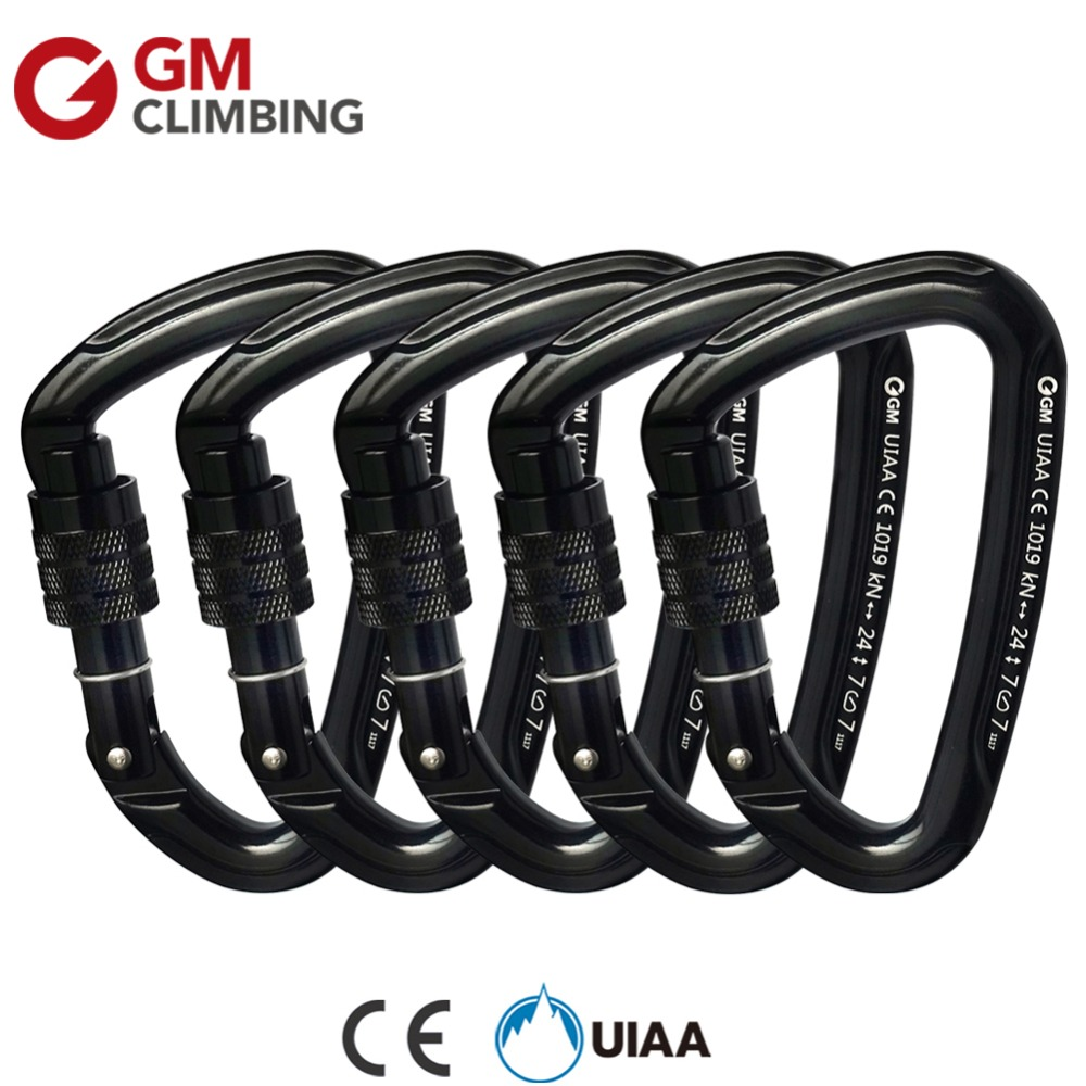 GM 24kN Carabiner Climbing Equipment CE / UIAA Screw Locking Rock Climbing Carabiner D Buckle Rope Survial Rescue Mountaineering
