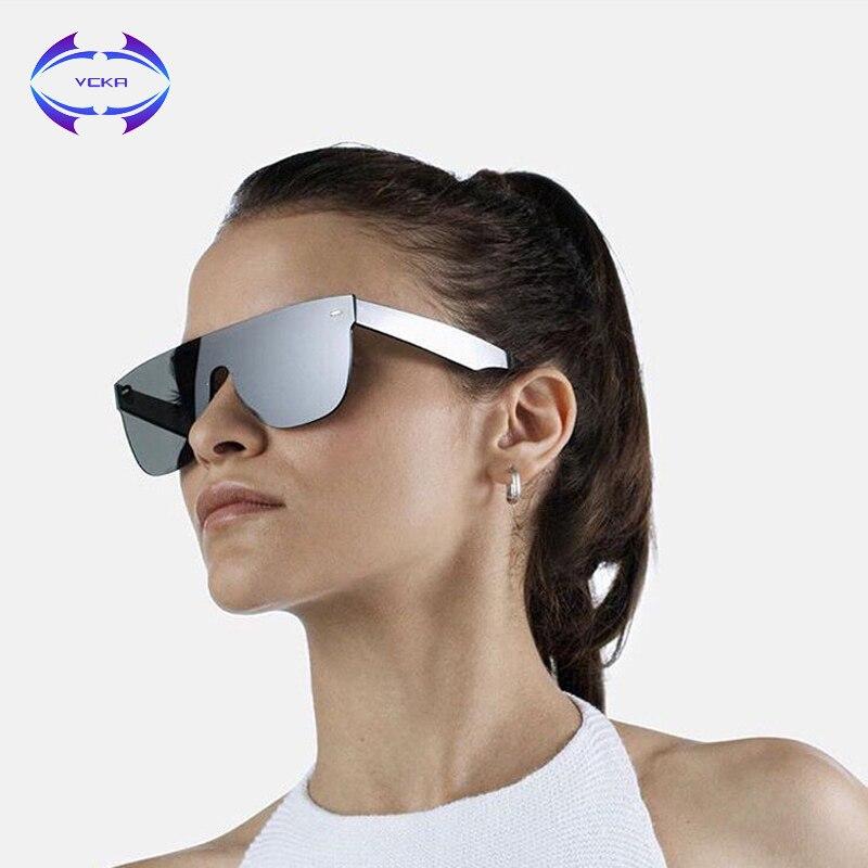 VCKA Women Sunglasses Conjoined Spectacle Lens Rimless Alloy Frame Summer Style Sun Glasses Square UV400 Eyewear Oculos De Sol ...