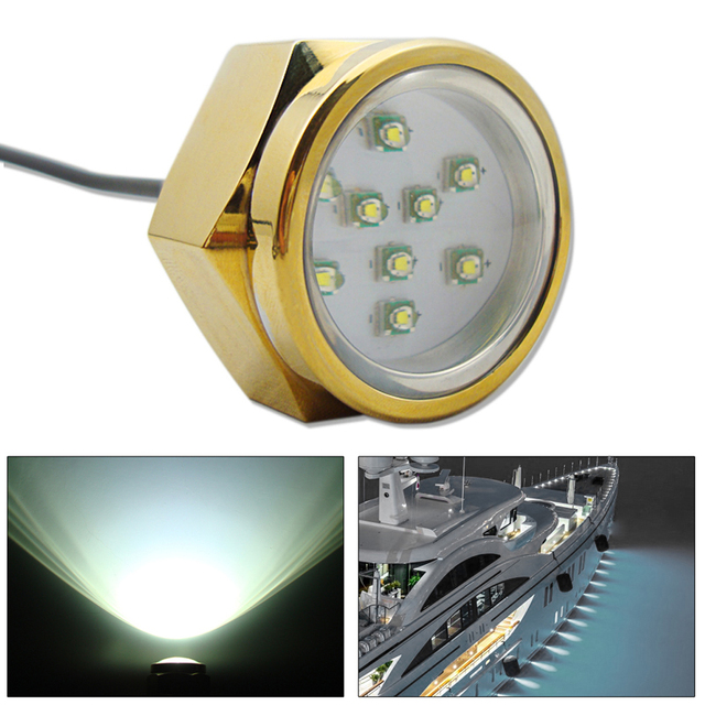 $ 61.09 27W Boat Drain Plug Light 9 LED High Power Boat Light Threaded Fountain Pool Pond Lamp Underwater Light