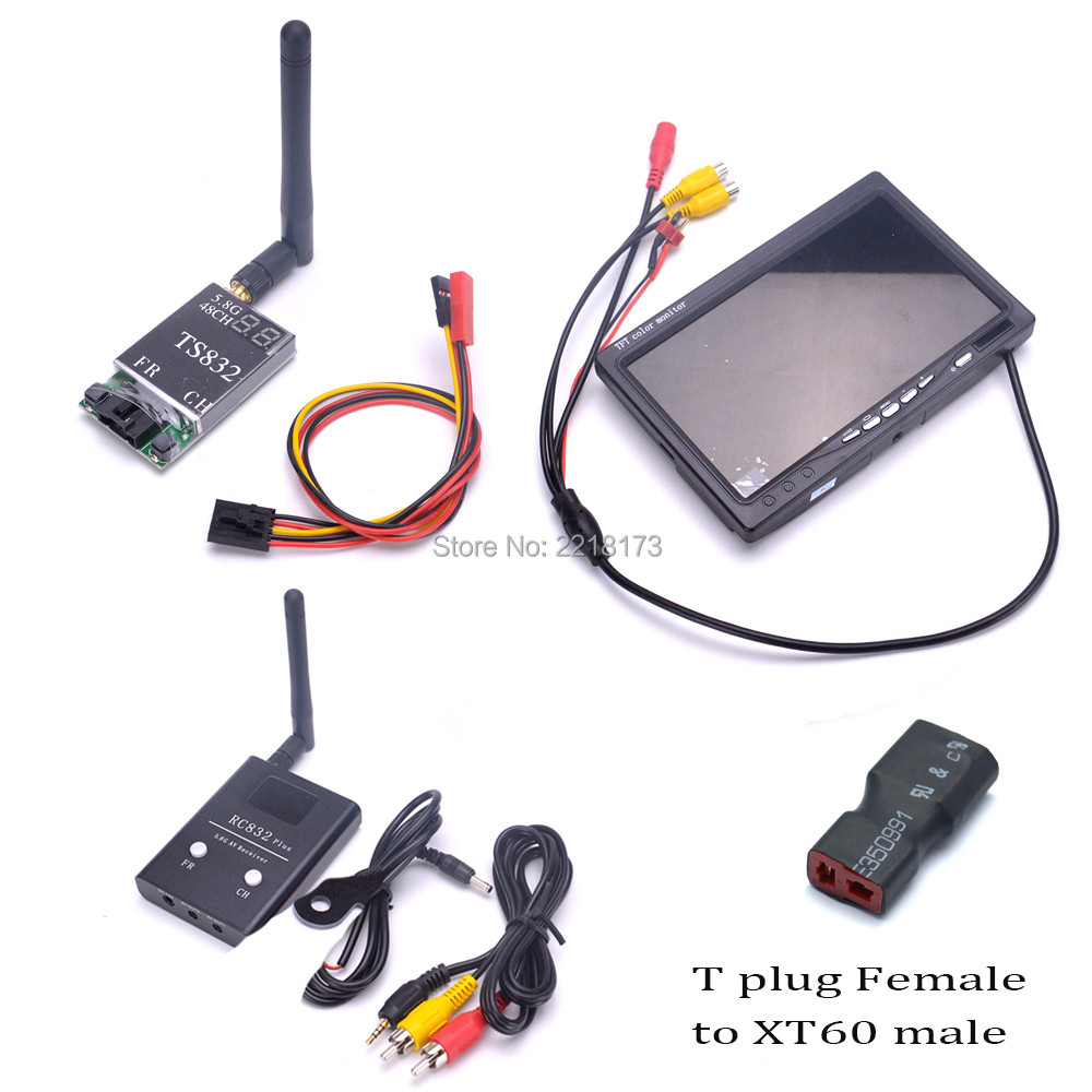 FPV 5.8G TS832 Transmitter RC832 plus Receiver 600mW 48CH & 7 inch 7 LCD TFT 1024 x 600 Monitor NO Blue for FPV RC Quadcopter