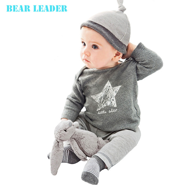 Bear Leader 2017 Winter&Autumn baby boy girl clothes casual 3pcs (Hat + T-shirt+pants) The stars leisure baby boys clothing sets