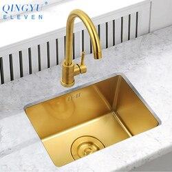 Goud Aanrecht Nanometer Technologie Goud 4mm dikte 304 Roestvrij Staal Handmatige Sink Enkele Bar Aanrecht