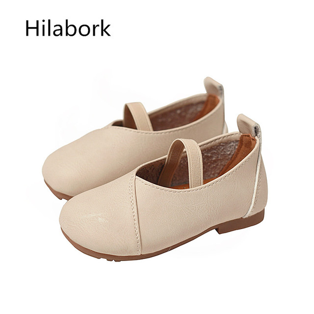 Leather shoes 2017 spring new children toddler shoes girl peas shoes soft bottom single shoes elastic belt boy lazy shoes