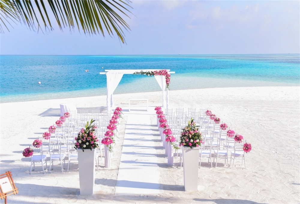 Laeacco Sea Beach Wedding Ceremony Scenic Photography Backgrounds Customized Photographic Backdrops For Photo Studio in Background from Consumer Electronics