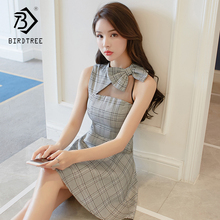 2018 Summer New Arrival Women's Dresses A-Line Plaid Sleeveless Shoulder Out Bow Above Knee Mini Sweet Bow Slash Neck D84434L
