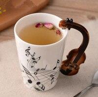 Creative Music Violin Style Ceramic Mug Coffee Tea Milk Stave Cups With Handle Coffee Mug Novelty