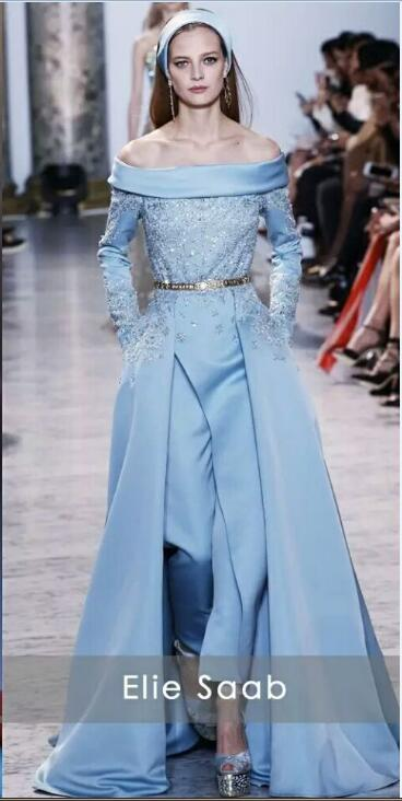 2017 Light Blue Elie Saab Evening Dresses Long With Pants