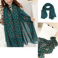 Green Korean Style Women's Fashion Long Silk Scarf Polka Dot Printed Chiffon Scarf Shawl Wrap Pashimina High Quality