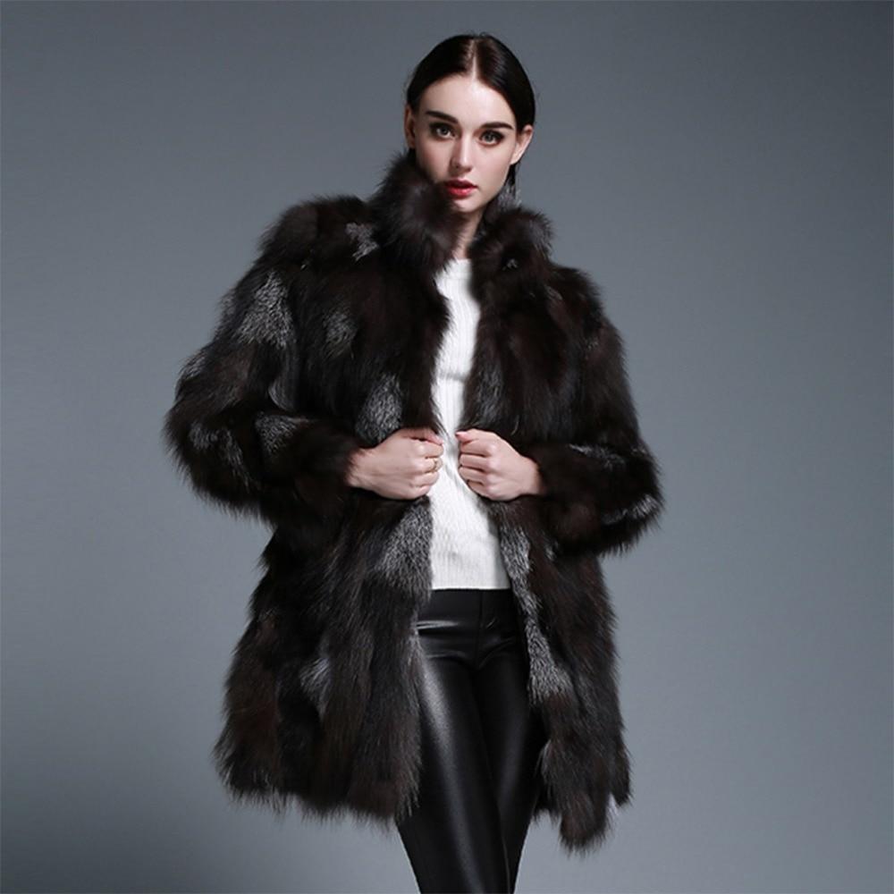 Fur Story 161211 Women's Natural Fur Coat Patches Silver Fox Fur ...