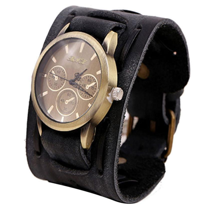 Timistar # 4005 Style Retro Punk Rock Brown Big Wide Leather Bracelet Cuff Men Watch Cool