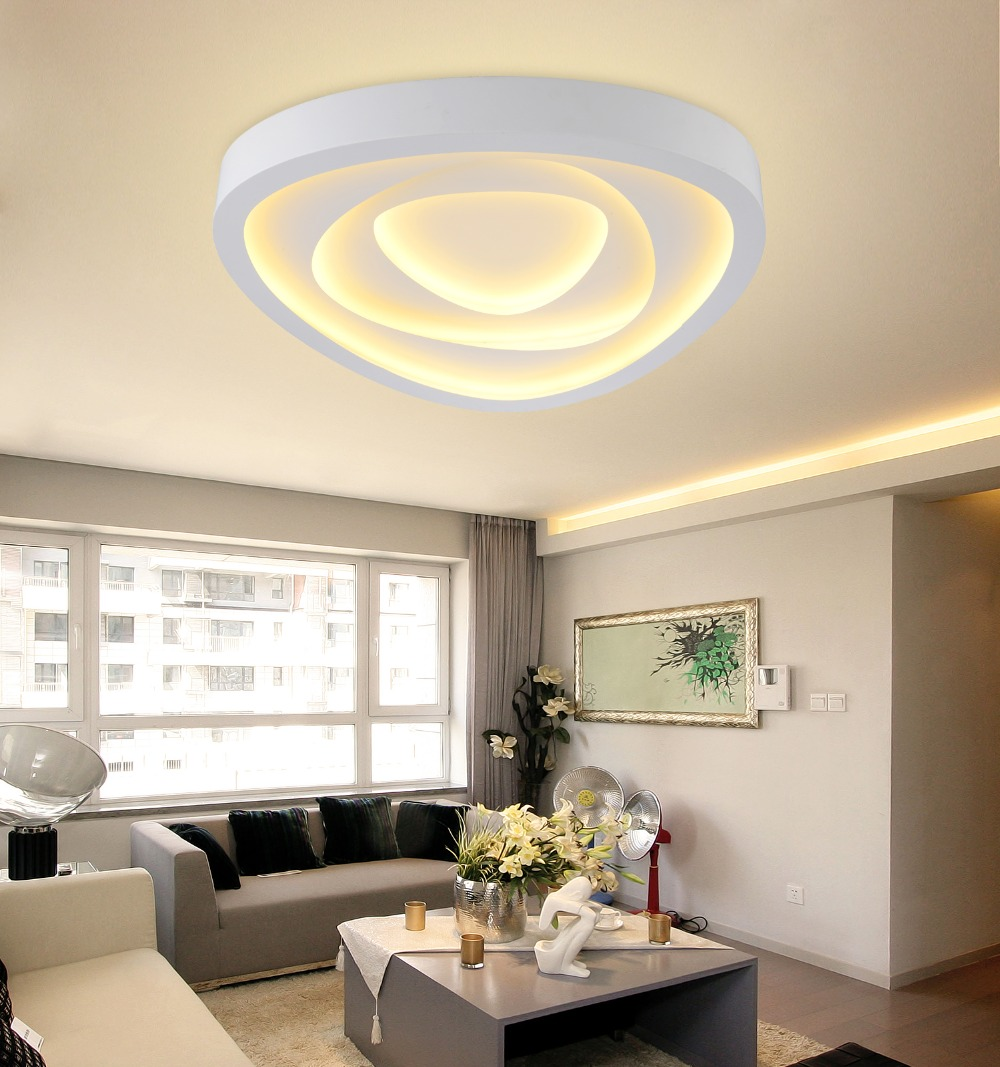 New Modern Led Ceiling Lights For Living Room Bedroom Triangle Layer Iron Frame White Acrylic