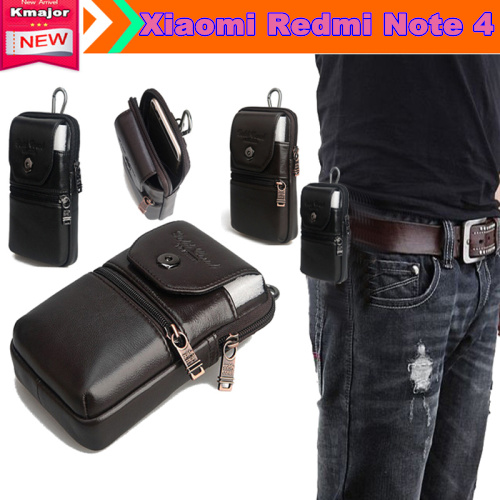 Genuine Leather Carry Belt Clip Pouch Waist Purse Case Cover for Xiaomi Redmi Note 4 5.5 Phone Bag Free Drop Shipping