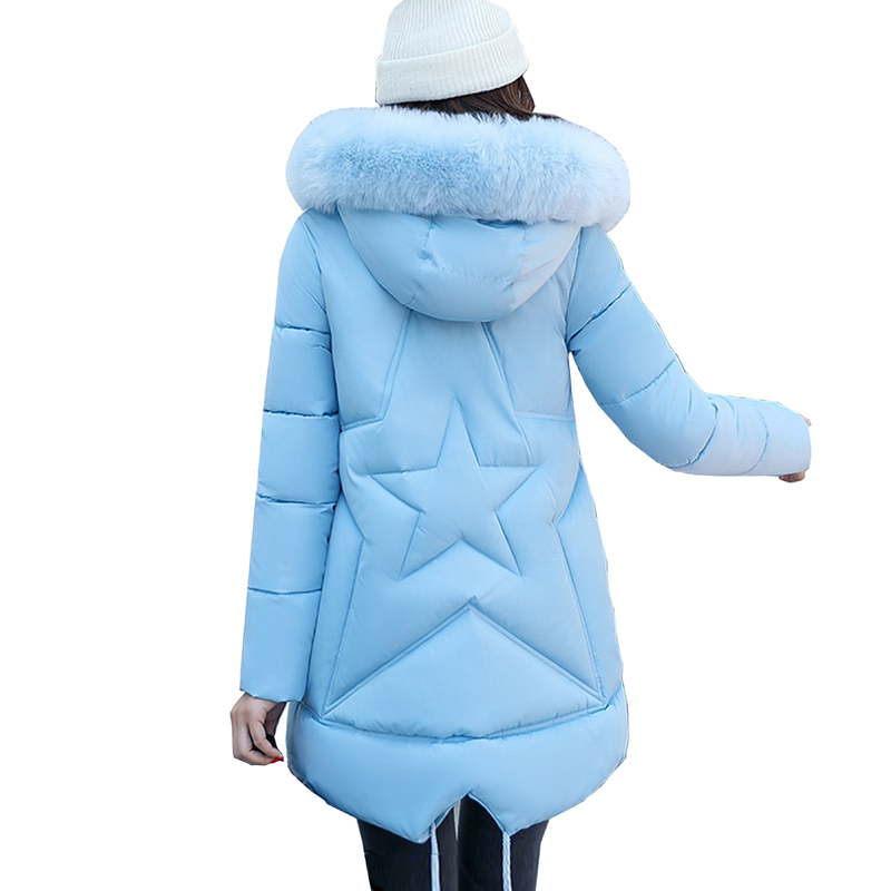 Winter Women Jacket Cotton Coat Fur Collar Hood Parka High Quality Fashion Zipper Slim Jacket Thick Femme Plus size Outwear 4L11 winter women fashion long thick warm 100%cotton filling jacket women plus size fur raccoon collar slim coat overcoat parka