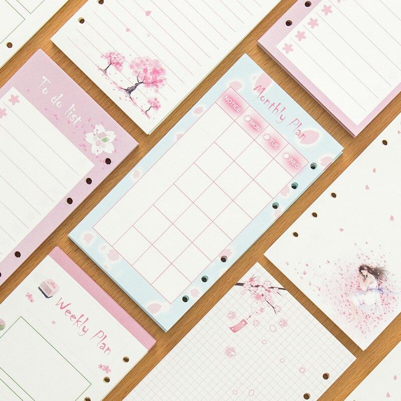 Aufstrebend 2018 Yiwi A6 A5 Bunte Minen Spirale Bunte Kirschblüten Notebook Inneren Seiten 6 Löcher Planer Füllstoff Papier Geschenk Kreative Notebooks