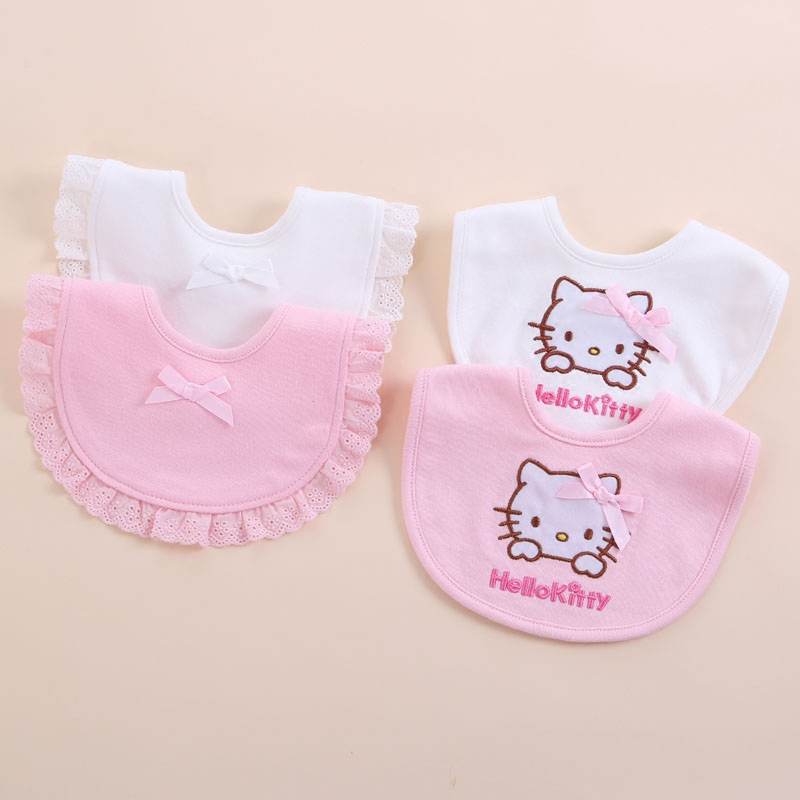 Baby Bibs 100% Cotton Lace Bow Pink And White Bib Baby Girls Cute Bib Infant raphael bilbao