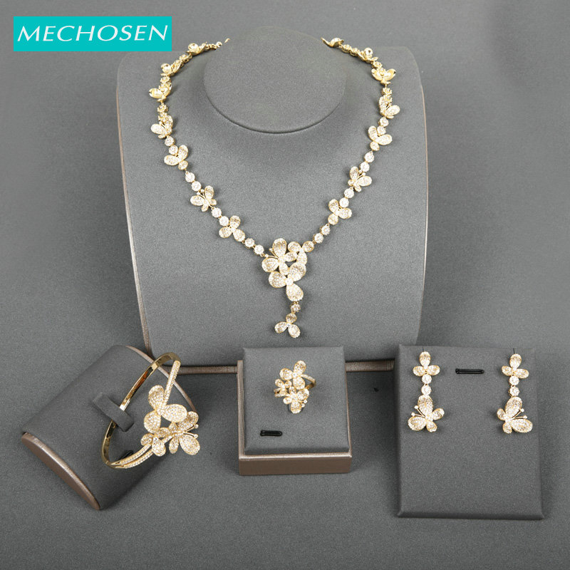 MECHOSEN New Luxury Butterfly Accessories Shiny Flower AAA Zircon Earrings Necklace Bangle Ring Sets Brides Wedding Party GiftsMECHOSEN New Luxury Butterfly Accessories Shiny Flower AAA Zircon Earrings Necklace Bangle Ring Sets Brides Wedding Party Gifts