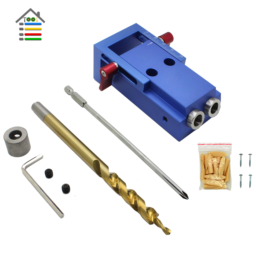Woodworking Pocket Hole Jig Kit 9.5mm Step Drill Bit Stop Collar For Kreg Manual Pilot Wood Drilling Hole Saw Master System 1 4 hex twist 9 5mm diameter bits step drill woodworking drills bits set for kreg pocket hole drill jig guide