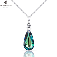 LEPAPILLION 925 Sterling Silver Women Necklace Fashion Fine Jewelry Luxury Crystal Water Drop Pendant Necklace For