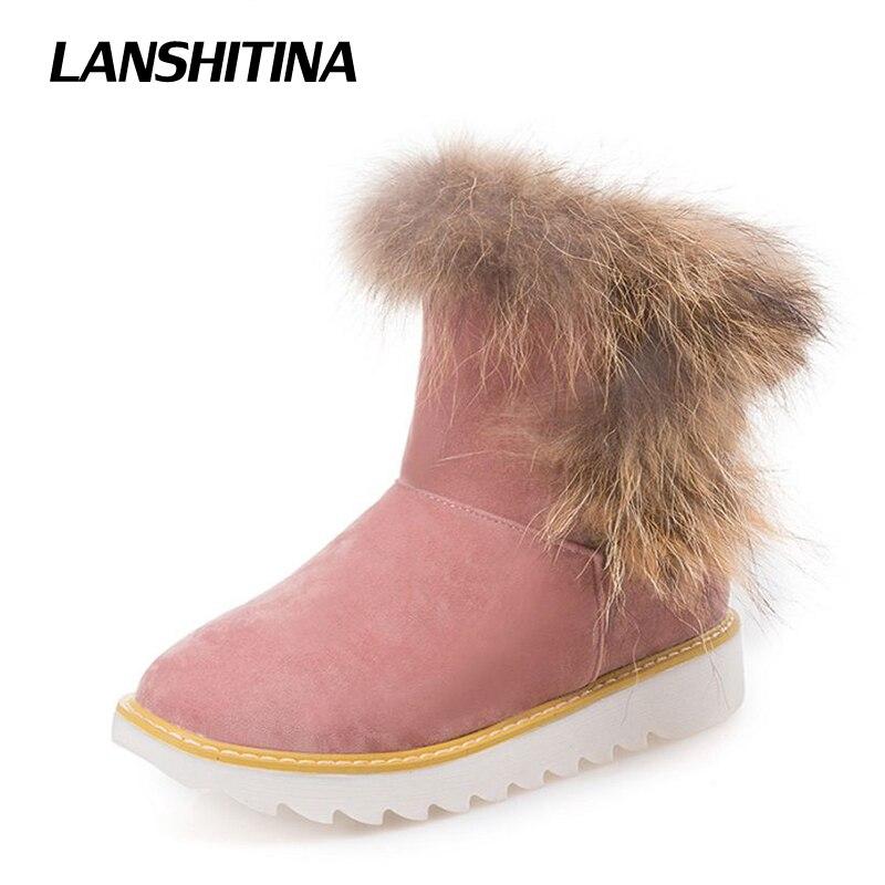 LANSHITINA Women Ankle font b Boots b font Hairy Winter Short font b Boot b font
