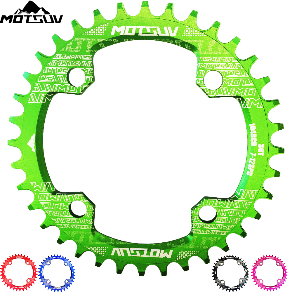 MTB bicicleta forma redonda estrecho ancho Chainwheel 32 t/34 t/36 t/38 T 104BCD plato bicicleta círculo sola placa piezas de bicicleta