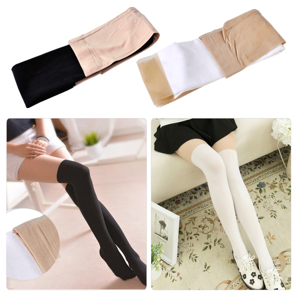Fashion Sexy white / Black Tinted Sheer Flesh color High Pantyhose Stocking Tattoo Tights Tinted Slim Thin For Women Lady Girls
