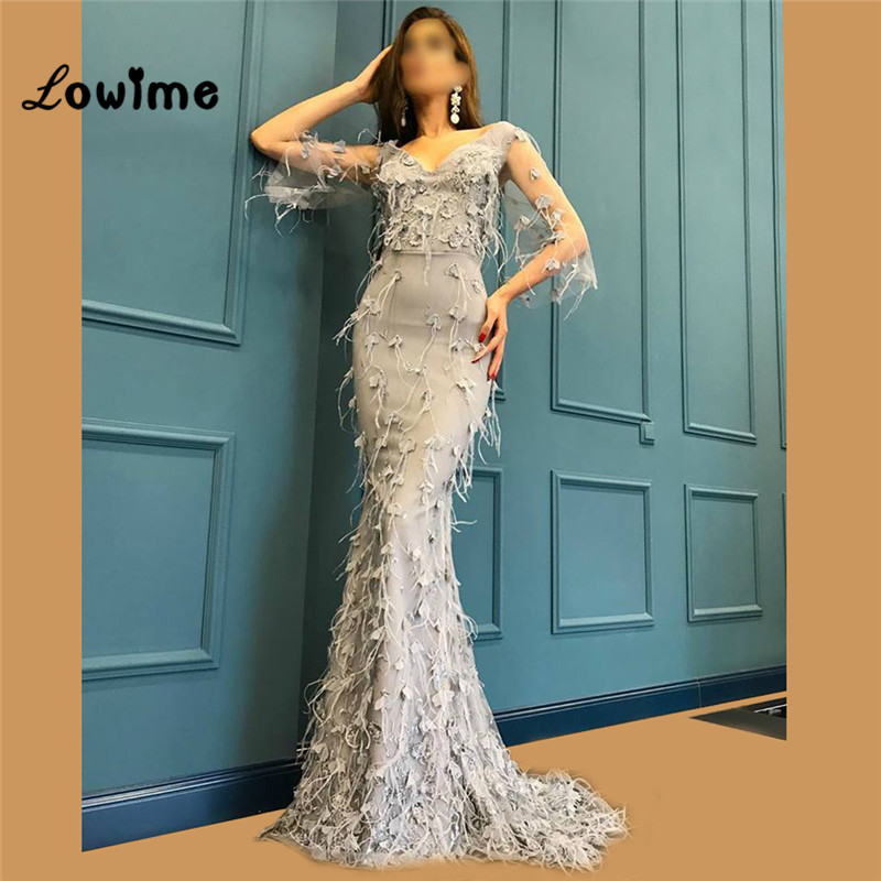 96bd2ed9366f5 Feather African Evening Dresses Turkish Arabic Formal Half Sleeves Women  Party Dress Robe De Soiree Dubai Muslim Kaftan Gowns