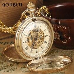 الذهب الفاخرة steampunk الجيب فوب الساعات سلسلة النقش 2 الجانبين مفتوحة حالة الجيب ساعات اليد الرياح الميكانيكية relogio دي bolso