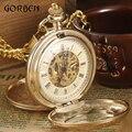 Luxo de Ouro Steampunk Relógios de Bolso FOB Cadeia gravura 2 Lados Abertos Caso Vento Mão Mecânica Relógios de Bolso