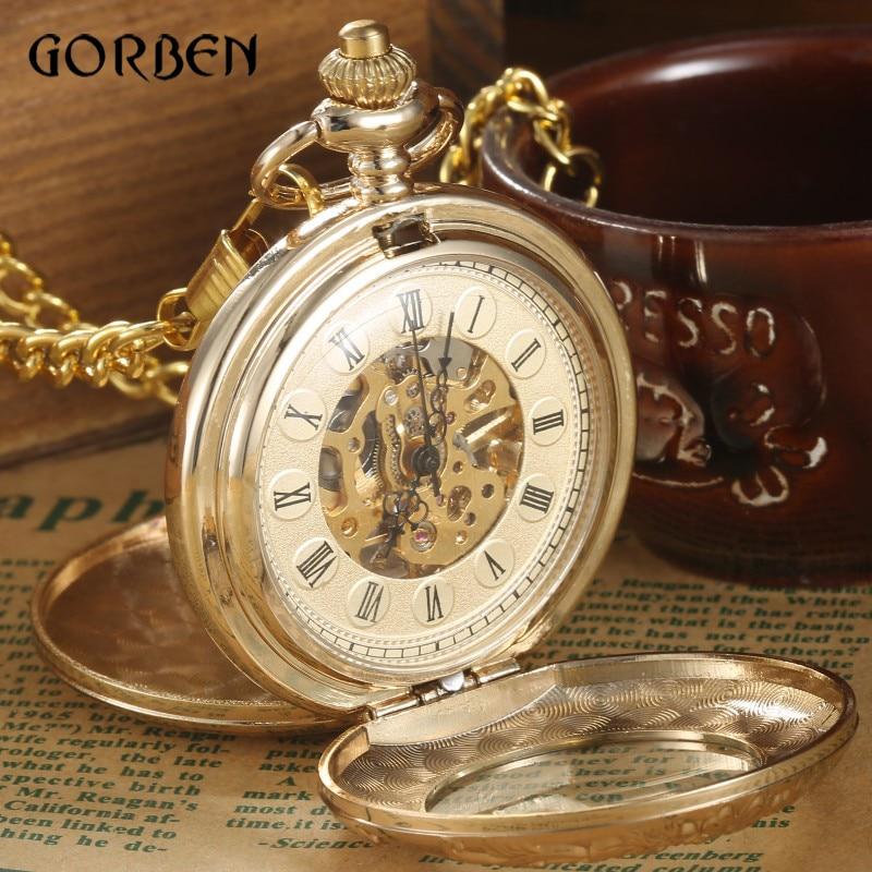 Luxe gouden Steampunk Pocket FOB horloges ketting gravure 2 zijden open zaak Hand wind mechanische zakhorloges Relogio De Bolso