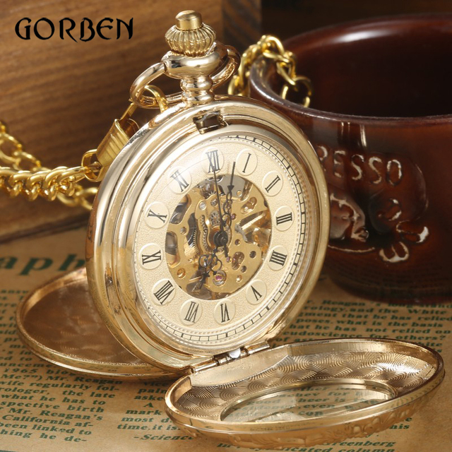 Luxury Gold Steampunk Pocket FOB Watches Chain engraving 2 Sides Open Case Hand