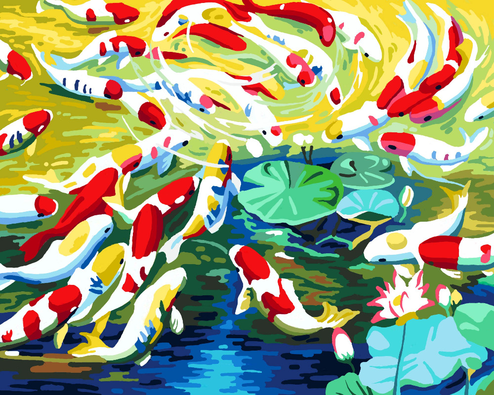 HQ goldfish DIY Digital Painting By Numbers Abstract Home Decor ...