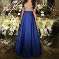 Sexy Decote Em V Aberto Voltar A Linha de Longos Vestidos de Noite 2017 New Arrivals Azul Royal Formal Prom Vestidos robe de soiree