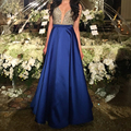 Sexy V Neck Open Back A-Line Long Evening Dresses 2017 New Arrivals Royal Blue Formal Prom Gowns robe de soiree