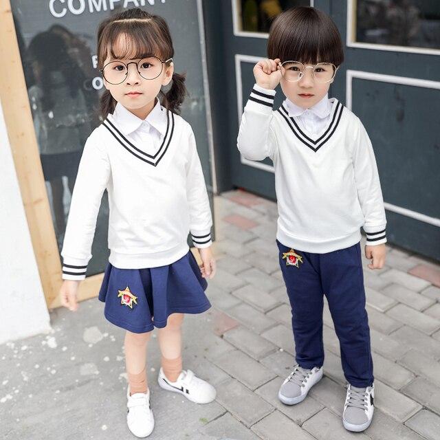 ae4511d3ba Suit for kids children clothing set japan school uniform long sleeves  V-neck top+navy blue skirt/long pants two-piece set 2-7T