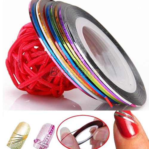 10 Color /bag 20m Rolls Nail Art UV Gel Tips Striping Tape Line Sticker DIY Decoration 6PXE 7GSV