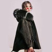 Women's Down Jacket 2019 White Duck Down Coat Large Real Raccoon Fur Collar Hooded Parkas Overcoat Female Parka Snow Wear