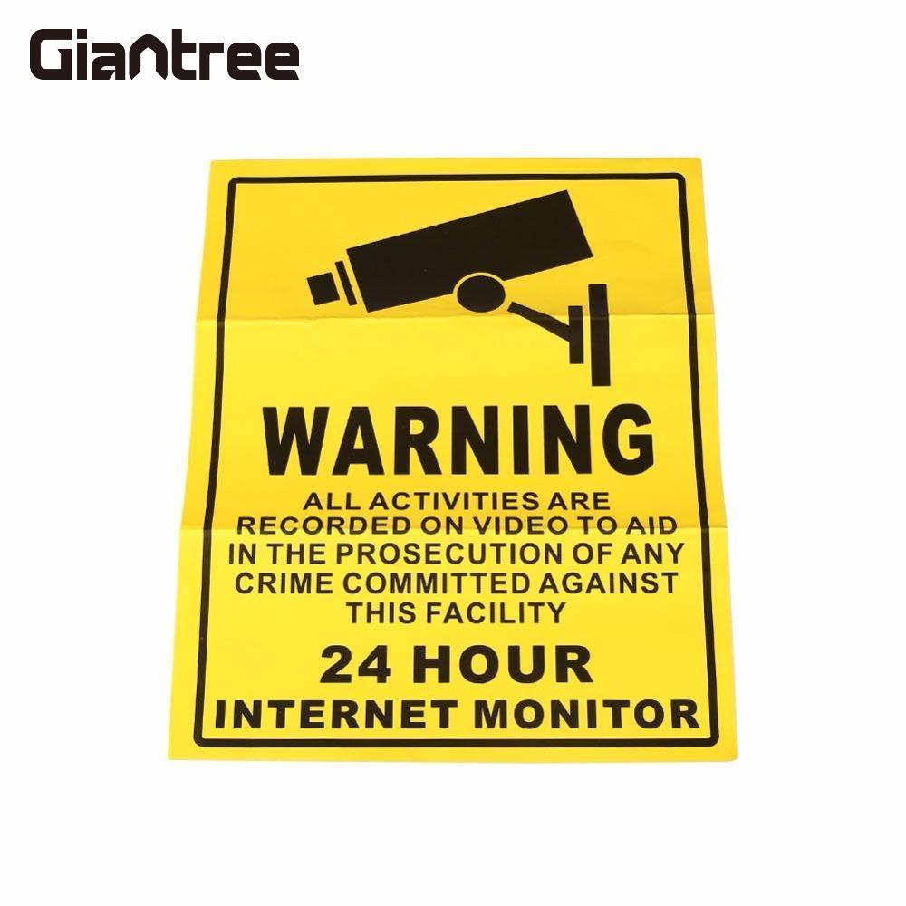 Giantree 10 Pcs Surveillance Warning Camera Video Sign 24 Hours Monitor Vedio Alert Alarm Wall Sticker Poster