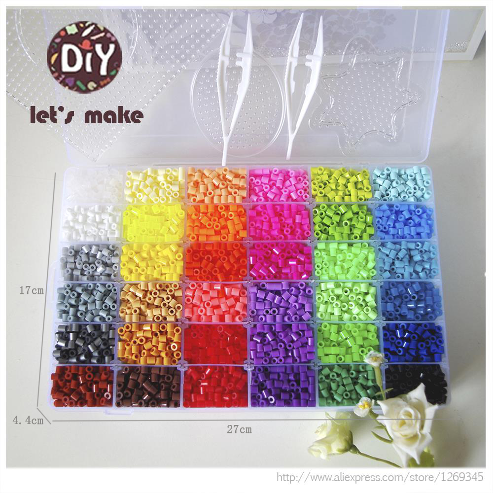 Let's Make Multi Color Perler Beads Ironing Beads 5mm Hama Beads Fuse 2Template+5 Iron Paper+2 Tweezers Puzzle Diy Beads Toys