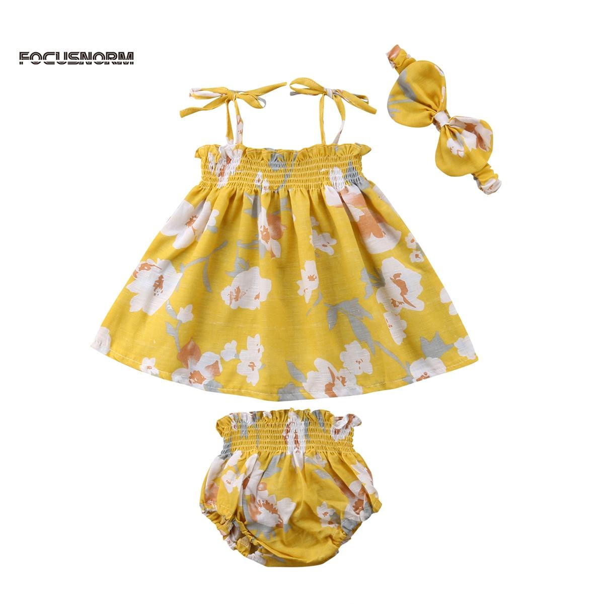 Летние для новорожденных одежда для малышей для девочек 3 предмета Комплект платье + пов ...