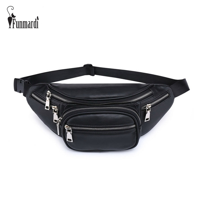 FUNMARDI Classic Brand Design PU Leather Waist Packs New Fashion Women Waist Bag Famous Women Bag Luxury Leather Bag WLHB1745