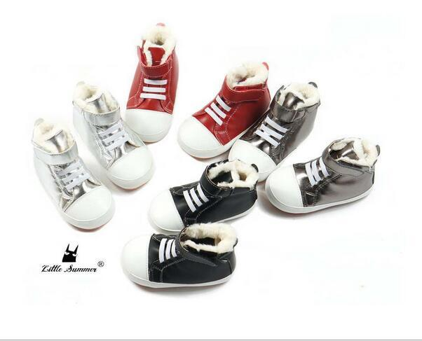 New arrival Warm Brand Microfiber leather baby moccasins Handmade baby boots Winter snow boots with velvet Baby Hard sole shoes