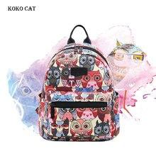 цена на Female Korean Version Canvas Backpack Animal Owl Printing Shoolbags College Wind Mini Backpacks Ladies Multifunction Travel Bags