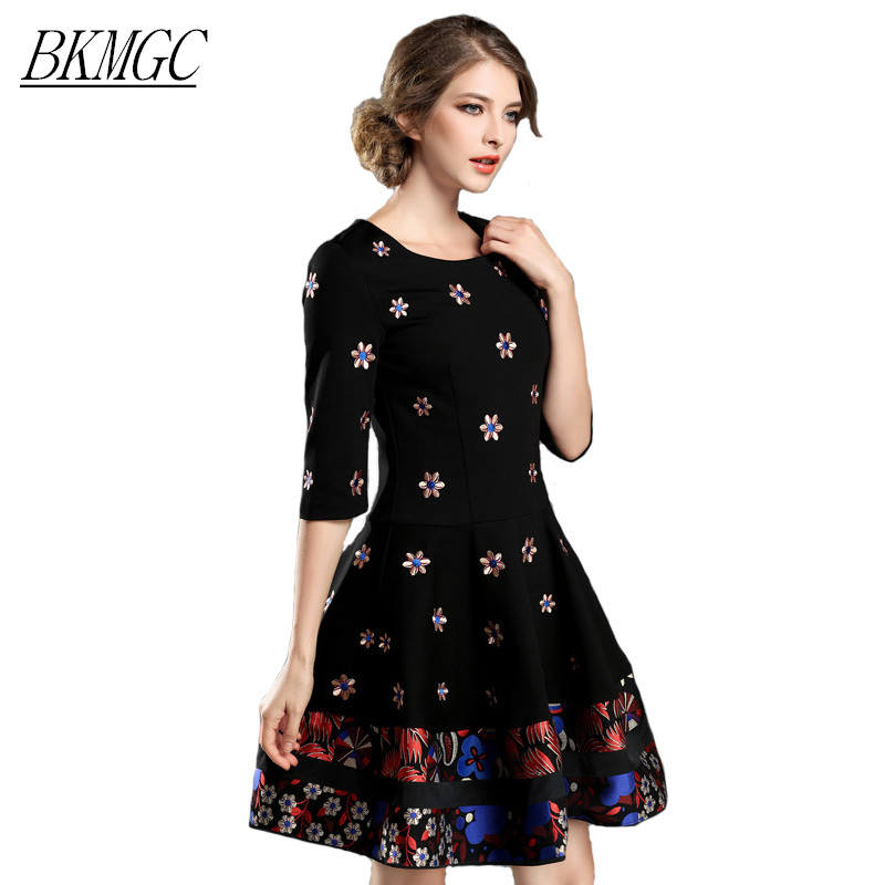 Honorable Elegant Vintage Little Flower Embroidery Print Black Dress Bohemian Colors Striped Big Hem Floret Party