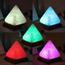 1PC Triangle Hand Carved USB Wooden Base Himalayan Crystal Rock Salt Lamp Air Purifier Night Light W315